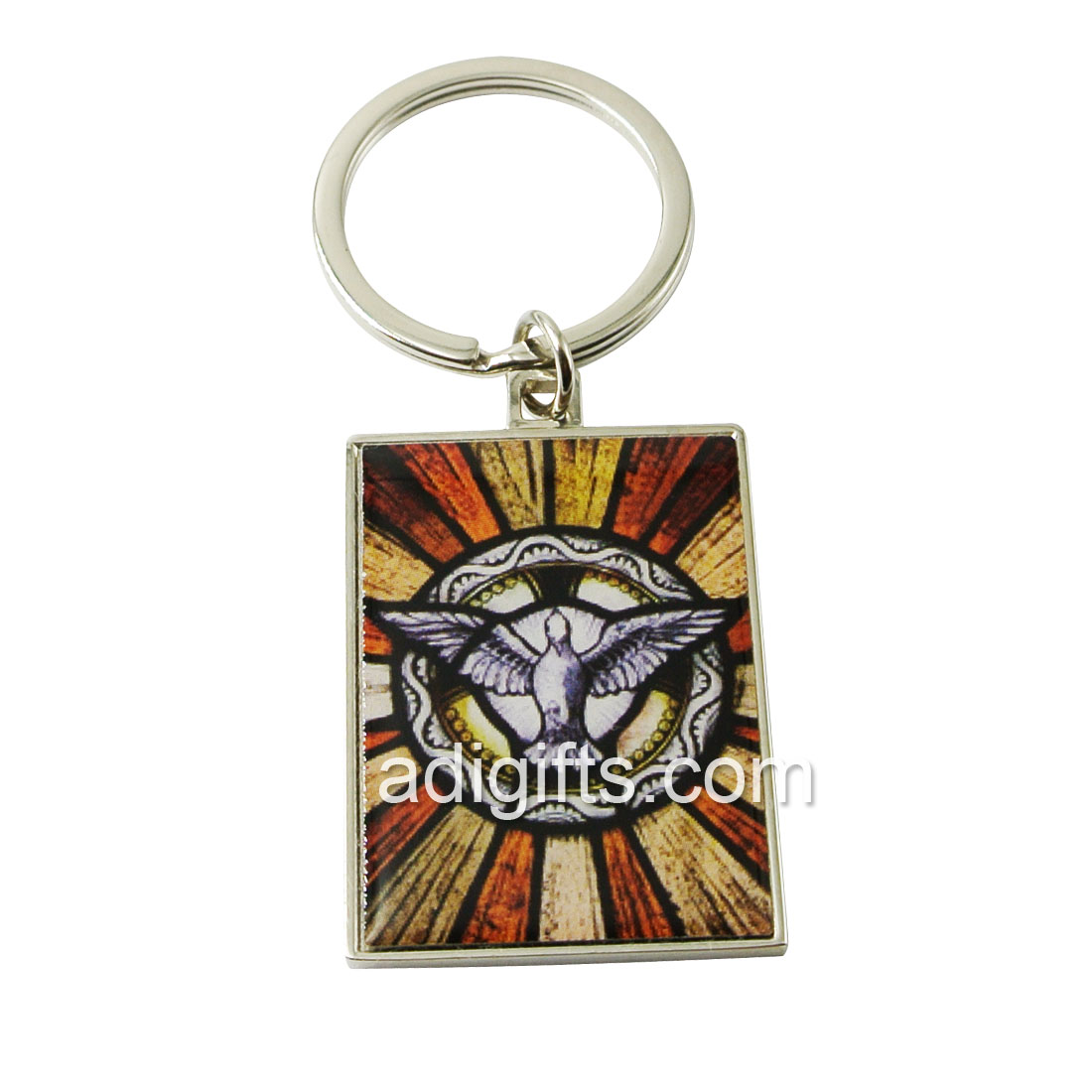 Custom Square Shape Metal keychain With Epoxy Sticker