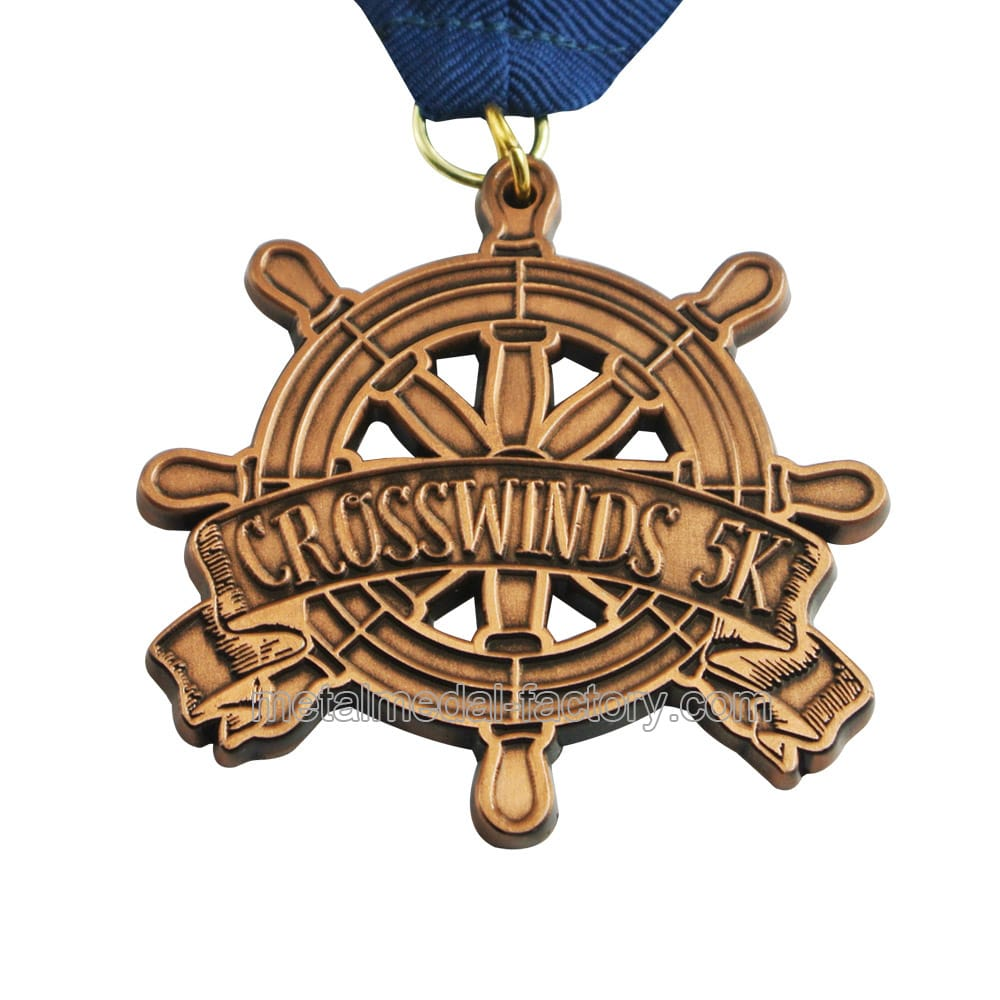 custom 5K rudder shape award medals for sale