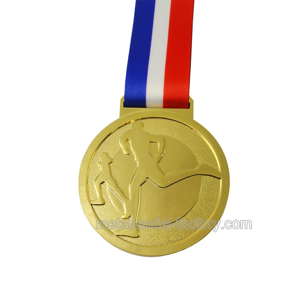 Custom Metal Engraved Running Medal With Gold Plate