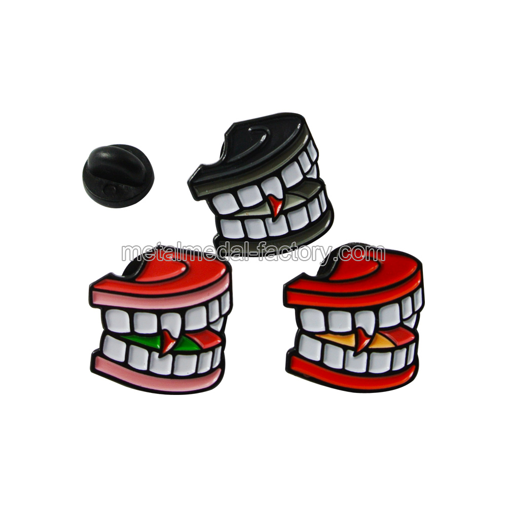 Custom Teeth Shape Funny Lapel Pins With Soft Enamel