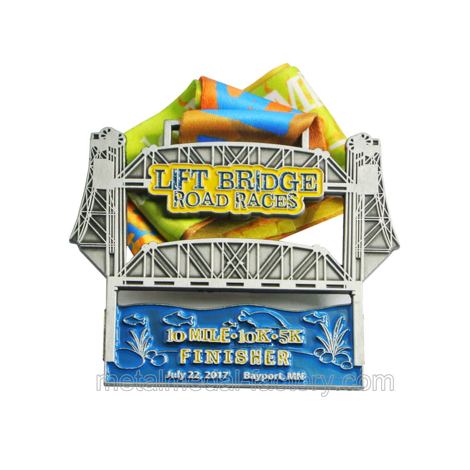 Promotion gift custom sports medals with sublimation ribbons