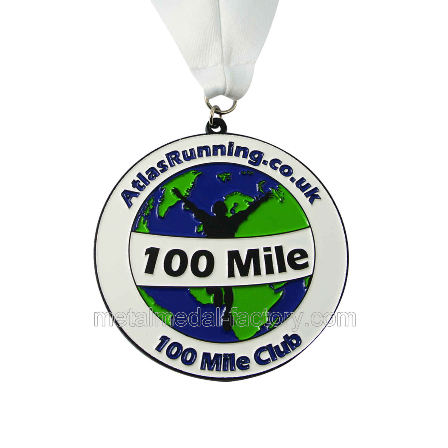 100 Mile Round Running Medal | Black Metal Medal-LuckyGift Medal Ltd