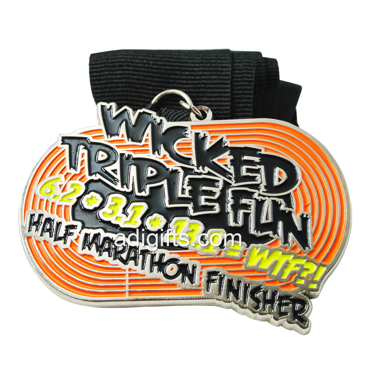 Customized half marathon triple fun medal