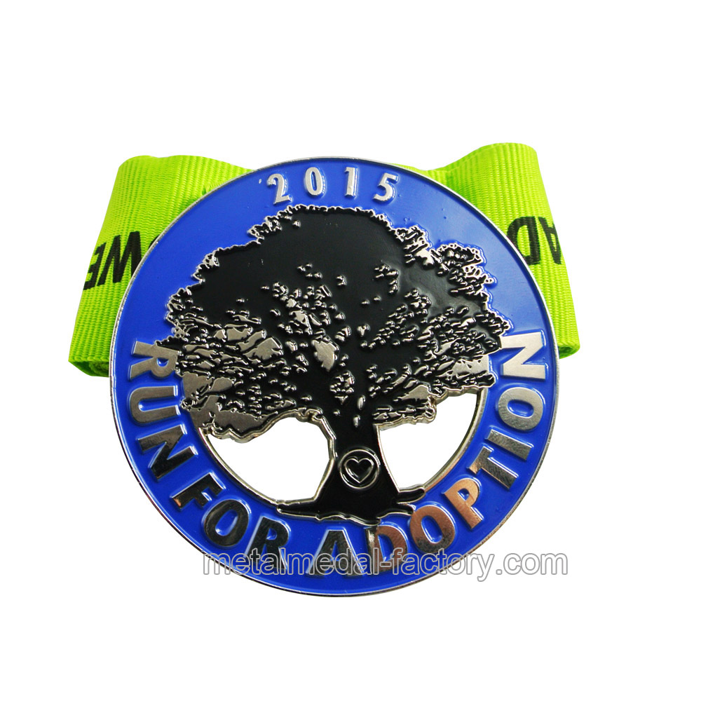 Custom award trophy running medal with ribbon
