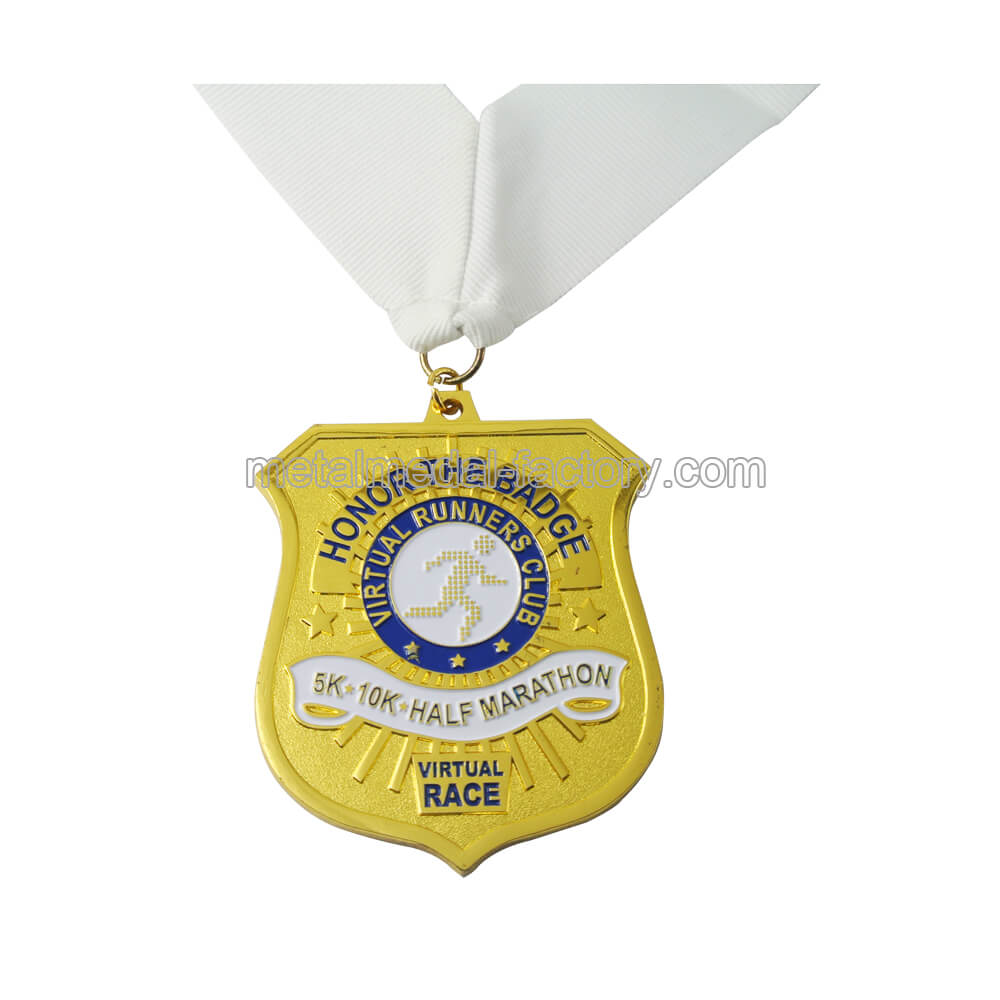 Award gold sports ribbon medal for runners