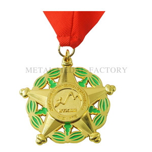 Gold plating star shape personalized medals for kids