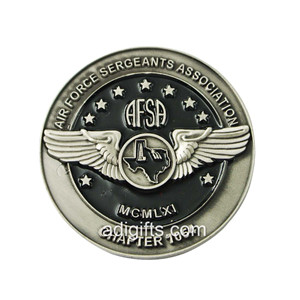 Custom wing antique sliver challenge coin
