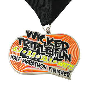 Ellipse Shape Custom Colorful Soft Enamel Half Marathon Finisher Medals