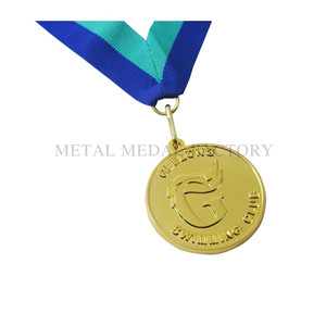 Gold Metal Finisher Trophy Ribbon Medal for Winners
