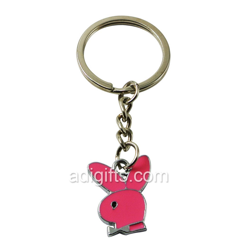 custom pink color rubbit shaped imitation enamel keychain