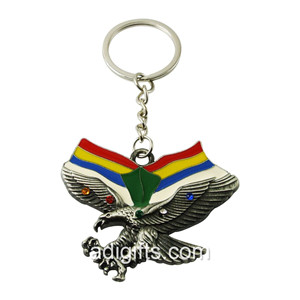 Custom Soft Enamel Eagle Shape Metal Keychain With Diamond