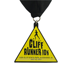 custom triangle running medals with yellow color