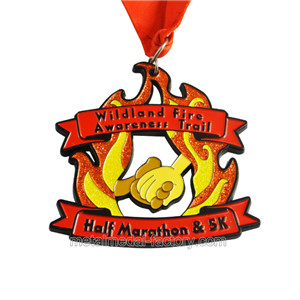 custom fire shape glitter half marathon medals for sale