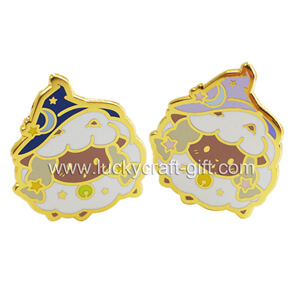 Enamel pins supplier custom gold sheep shaped hard enamel lapel pin