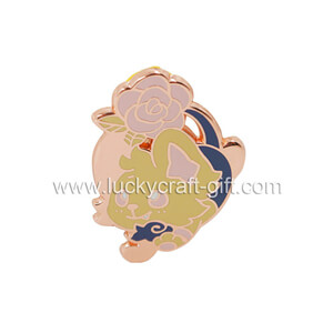 Custom engraved cute rose gold hard enamel lapel pins
