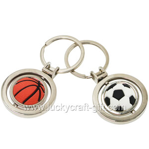 custom metal spinner soccer keychains no minimum