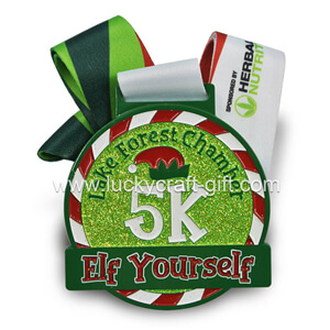 custom finisher sport race award christmas 5k medals with glitter