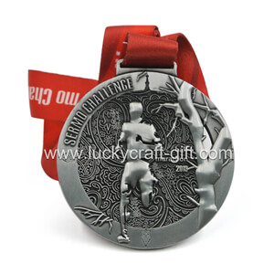 custom  3d enamel sport race finisher medals with ribbon