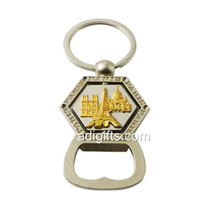 Custom double plating bottle opener rotating keychain