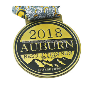 2018 custom 5K | 10K | 10MI soft emamel race medal with ribbon